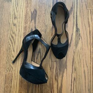L.A.M.B. Black Platform Leather Peep Toe Heels